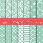 Grayed Jade Digital Paper Scrapbook..