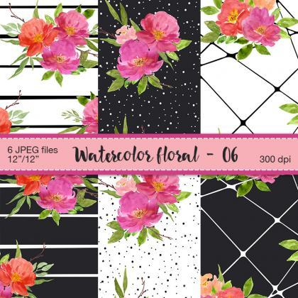 Watercolor floral digital paper - D..