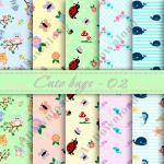 Cute Bugs Digital Paper Pape..