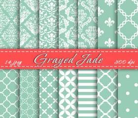 Grayed Jade Digital Paper Scrapbook Paper Pantone 2013 Digital Downloads Cardmaking