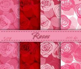 Roses Digital Paper Download Background With Roses of 4 Sheets Flowers Rose Art for Prints Clip Art Roses