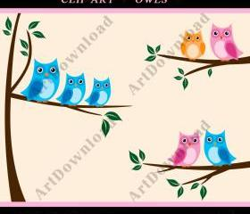 Tree With Owls - Branch With Owls, Clip Art Owl, Digital Scrapbooking, Digital owls