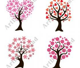 Decorative Trees - Digital Clip Art, Clip art trees, Digital Scrapbooking, PNG