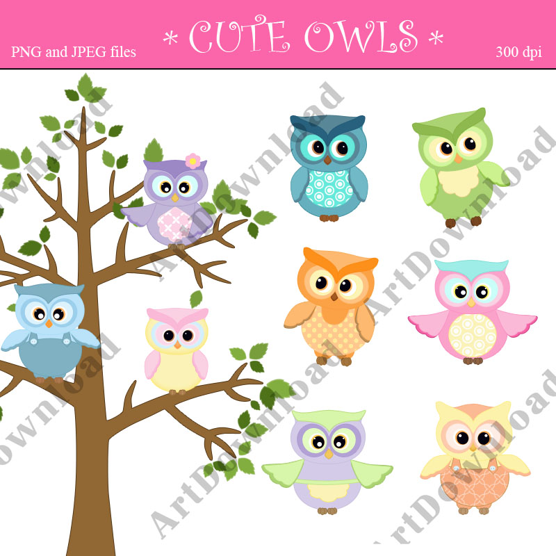Cute owl Clip Art Digital Scrapbooking Digital Clip Art Owl Set for    Cute Owl Clip Art