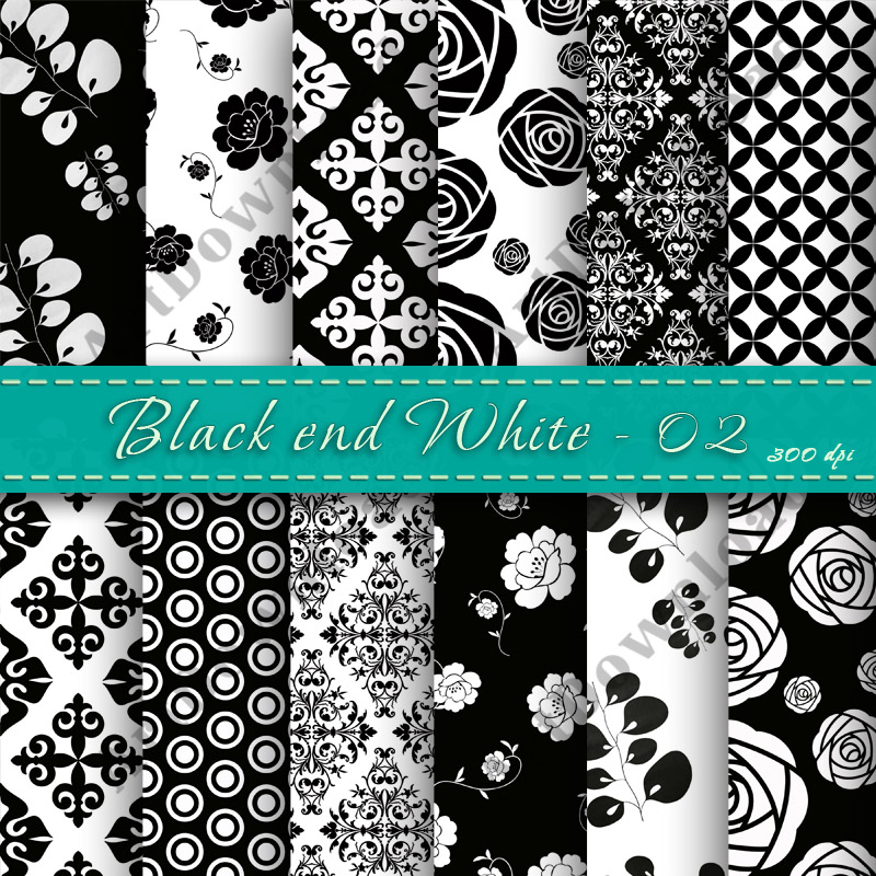 Black And White Digital Papers Black & White Paper Pack ...