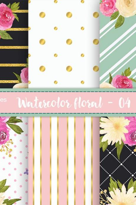 Watercolor floral digital papers - Digital floral patterns, polkadots, stripes, Gold Foil Stripes, Printable floral paper, Rosse patterns, Floral background, Scrapbooking Paper