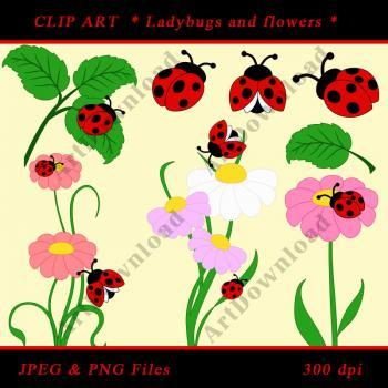 Ladybug Clip Art - Digital Clip Art Ladybug and flowers, Scrapbooking, Set for Personal and Commercial Use