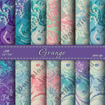 Grunge Digital Scrapbooking Papers - Digital Paper Pack, Scrapbook Paper For Personal Or Commercial Use