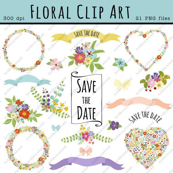 Digital Floral Clip Art - Clip Art Wedding, Flowers Wreath , Ribbon , Floral hearts, Bouquets, Wedding invitation