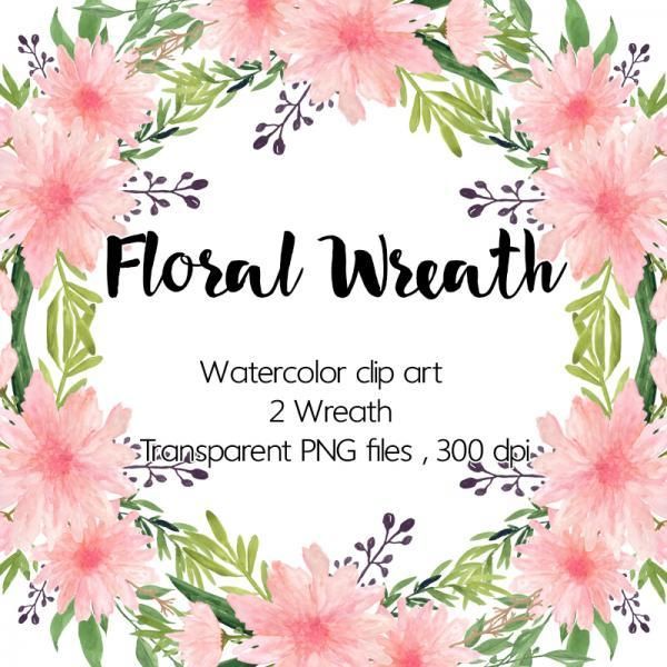 Watercolour Floral Wreath - Watercolor dahlia, Clip art wreath, Scrapbooking Clip Art, Watercolour clipart, Wedding clip art, Commercial use, Dahlias clipart, Hand painted wreath