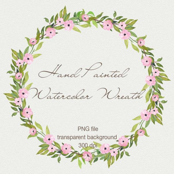 Watercolor floral wreath clipart - Digital wreath, Hand painted flowers, Spring flowers, Watercolor wedding wreath, Digital floral frame, DIY Invitations, Digital scrapbooking