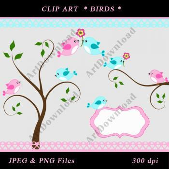 Tree with Love Birds Digital Clip Art Birds Digital Scrapbooking Commercial And Personal Use