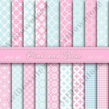 Pink and Blue Scrapbook Paper Digital Scrapbook Paper Patterns Digital Paper Pack For Personal Or Commercial Use